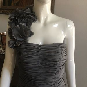 Gray One Shoulder Fitted Cocktail Dress